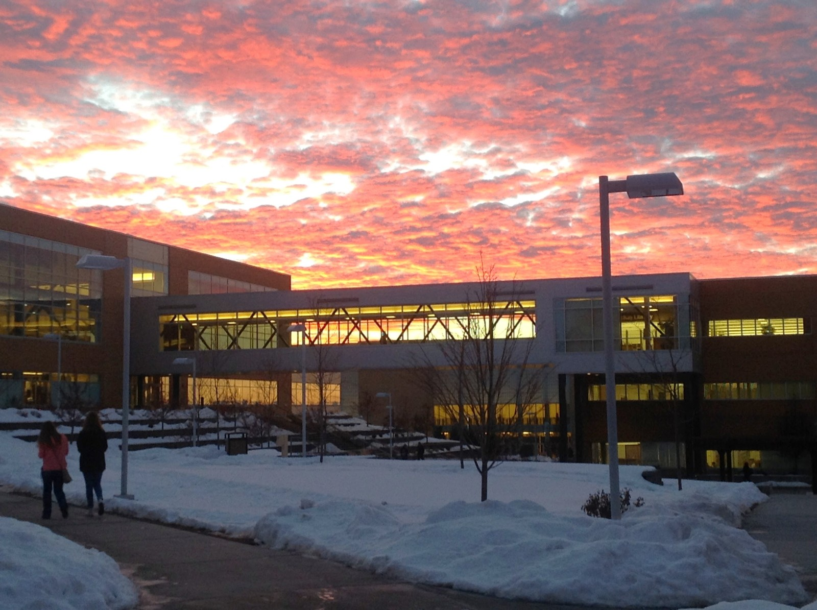 A sunset over BYUI in Rexburg